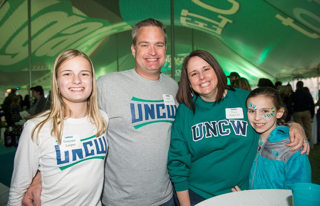 Family at homecoming event