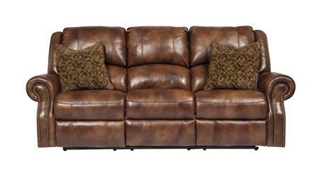Walworth Power Leather Reclining Sofa Auburn
