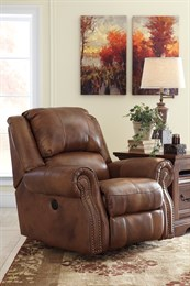 Walworth Power Leather Rocker Recliner Auburn