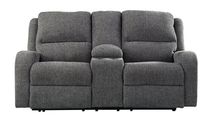 Krismen Power Reclining Loveseat Console With Adjustable Headrest Charcoal