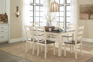 Woodanville 7PC Rectangular Dining Room Collection Cream/Brown
