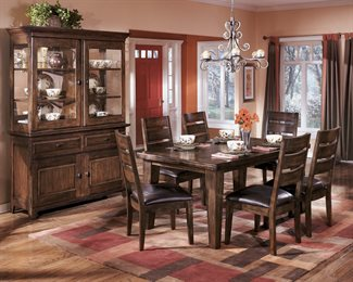 Larchmont 7PC Rectangular Dining Collection Dark Brown