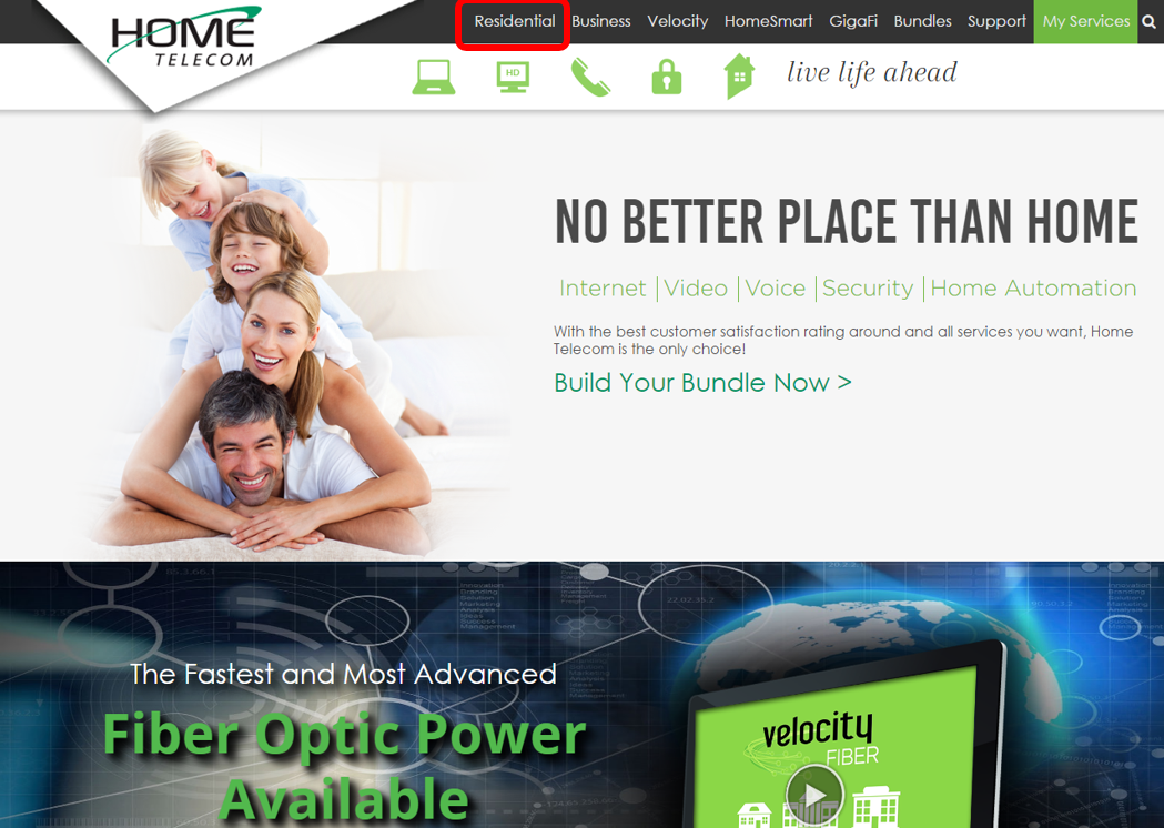 Step 1: Visit HomeSC.com then click the 'Residential' button on the top menu bar. Scroll down and click the 'Register now!' link in the HomeTV2Go section. If you have already registered, click the HomeTV2Go icon to browse all networks available.