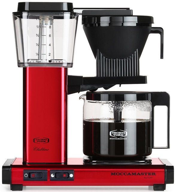 Carolina Coffee A Technivorm Moccamaster KBG Automatic Drip Stop Coffee Maker with Glass Carafe - Red Metallic