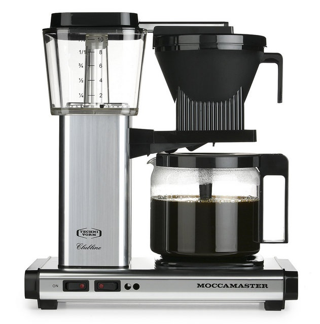 Carolina Coffee Technivorm Moccamaster KBGV Automatic Drip Stop Coffee Maker with Glass Carafe - Polished Silver